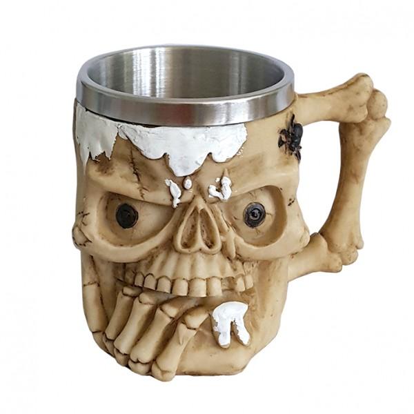 Масивна 3D чаша череп с бяла пяна паяк и паяжина 400ml