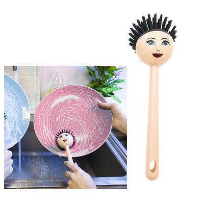 Четка за миене на съдове с лице на дама с прическа