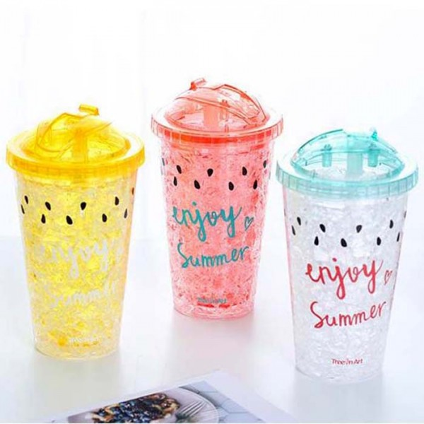 Охлаждаща термо чаша със сламка и капак двойни стени ENJOY SUMMER