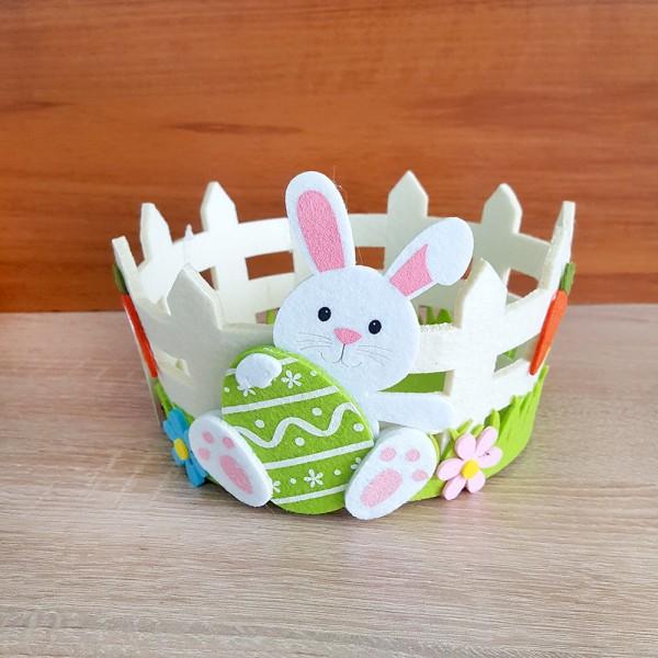 Великденски панер за яйца и лакомства с декорация зайче