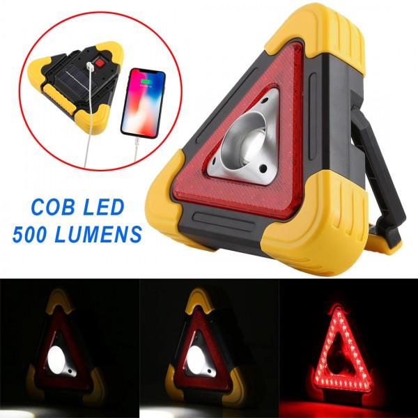 Работна лампа авариен триъгълник къмпинг фенер COB прожектор със соларен панел