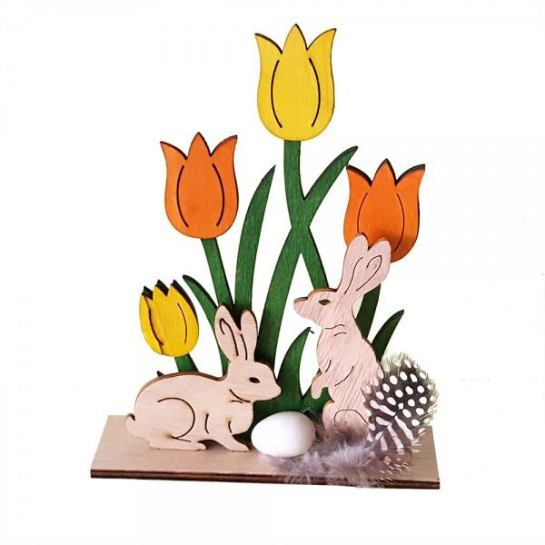 Великденски зайчета в градинка дървена украса декорация за Великден