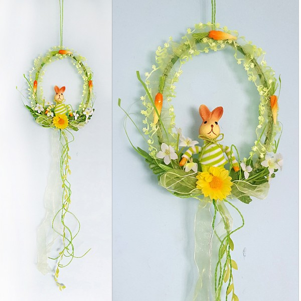 Великденски венец със зайче и моркови украса за врата стена