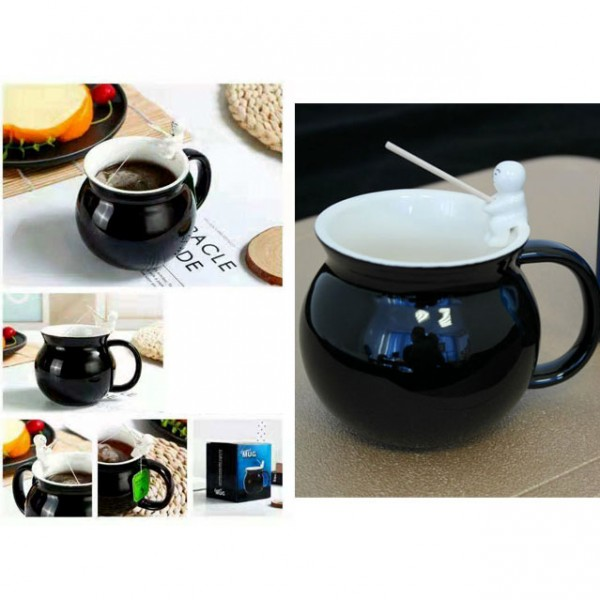 Тумбеста чаша за чай или кафе с 3D фигура рибар 300ml