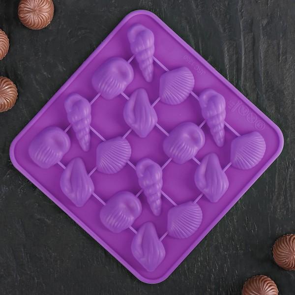 Силиконова форма за бонбони и лед морско дъно миди рапани раковини