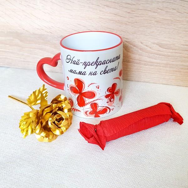 Подаръчен комплект за Осми Март Чаша златна роза послание за мама