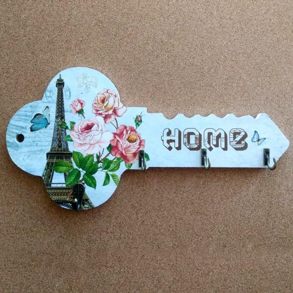 Декоративна дървена закачалка Ключ поставка за ключове 4 модела органайзер