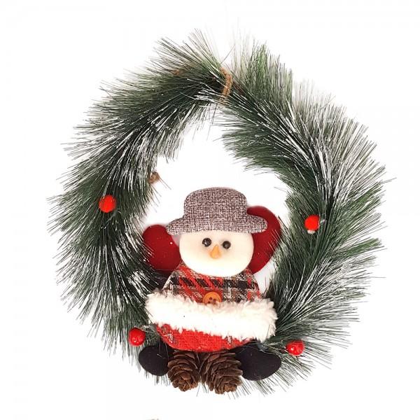 Коледен венец за врата с Дядо Коледа 20см