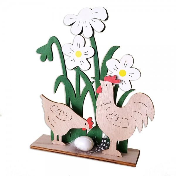 Дървена украса за Великден Петел и кокошка с яйце в градинка