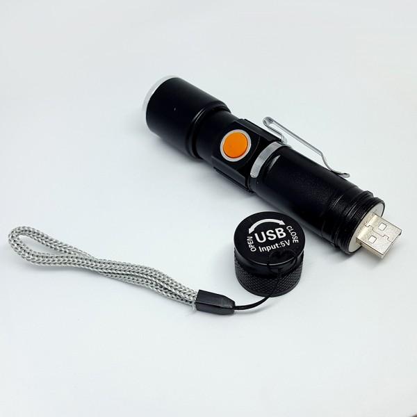 Мини LED фенер с USB зареждане мощен джобен фенер ZOOM фокус
