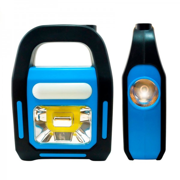 Соларна работна лампа фенер с дръжка презареждаема USB 3 режима на светене