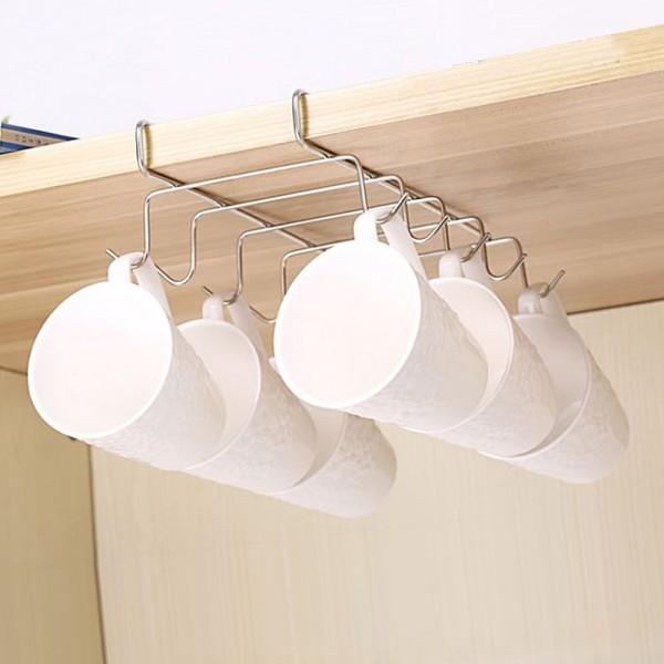 Метална стойка поставка закачалка за чаши и прибори органайзер за шкаф
