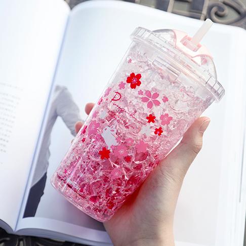 Двустенна охлаждаща чаша със сламка и капак 450ml термо чаша за напитки