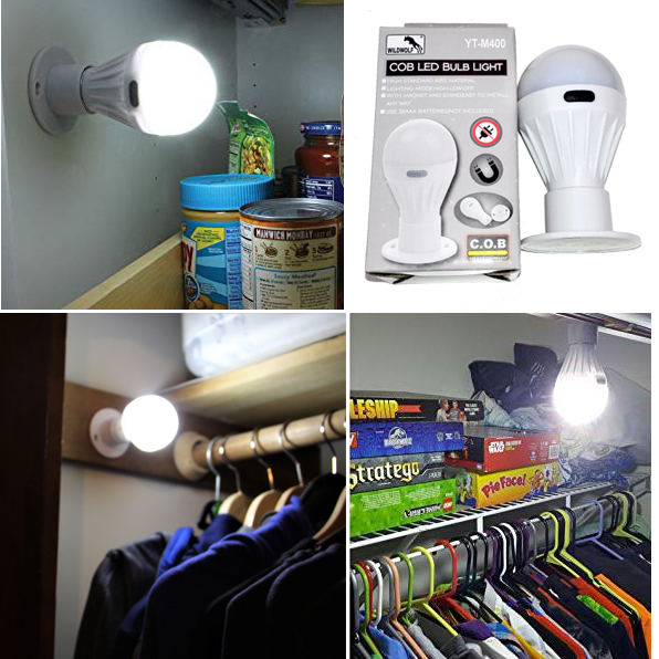 LED лампа крушка с кука и стойка на батерии крушка за шкаф