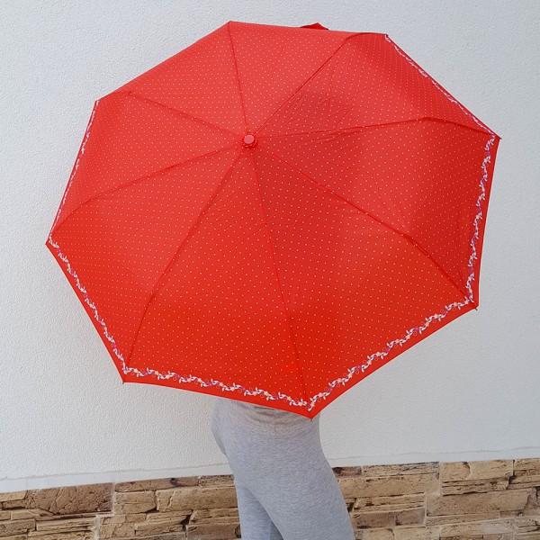 Дамски автоматичен чадър за дъжд на точки с цветя двоен автомат 96см
