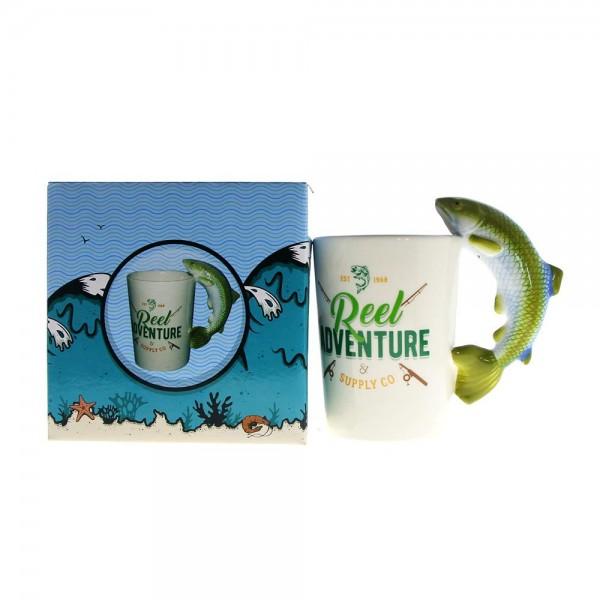 Керамична чаша с дръжка РИБА подаръчна чаша за рибари 300ml
