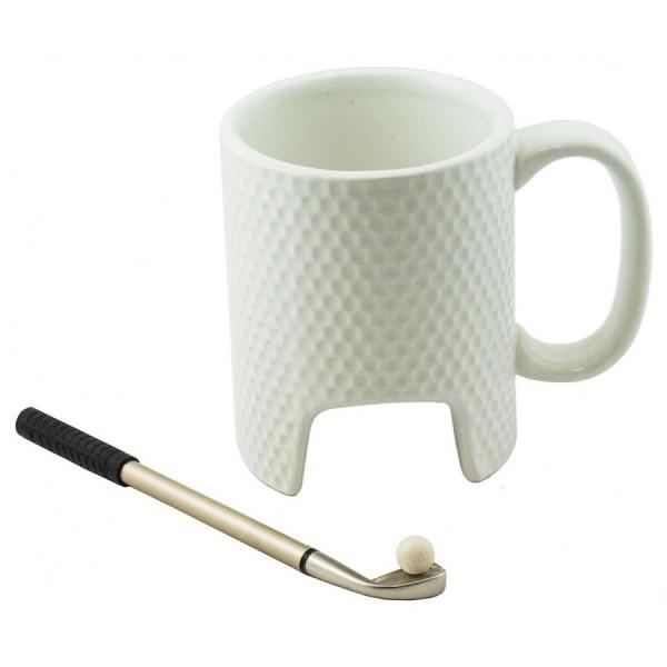 Бяла керамична чаша Голф със стик химикал и топче