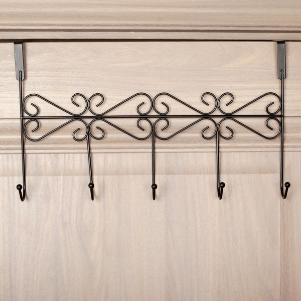 Метална закачалка за врата с 5 куки черна