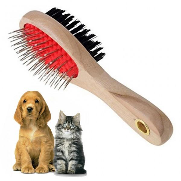 Дървена двойна четка за ресане на кучета и котки обла