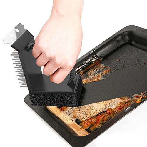 3 в 1 Телена четка за скара с гъба и шпатула грил четка за почистване