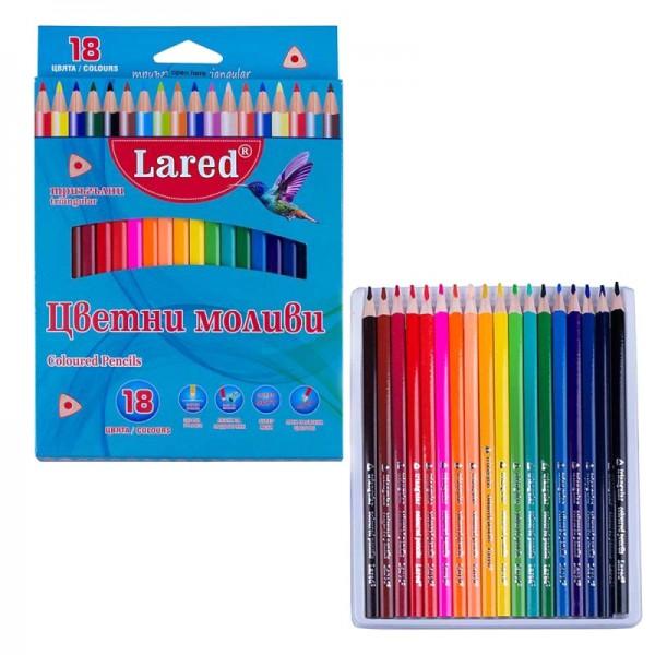 Цветни моливи триъгълни Lared 18 цвята