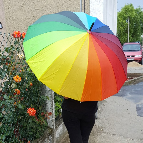 Голям дамски чадър за дъжд Дъга, 16 ребра, 95см диаметър