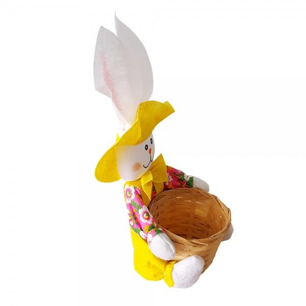 Декоративен панер великденски заек кошничка за яйца и лакомства