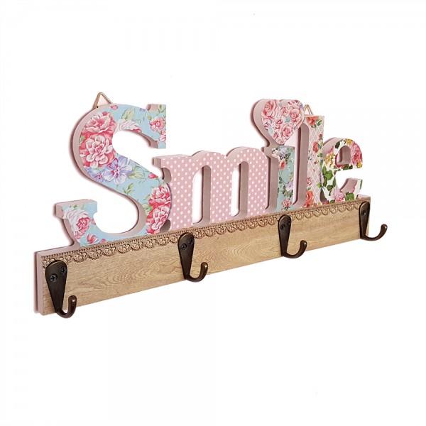 Декоративна дървена закачалка SMILE стенна закачалка с 4 куки
