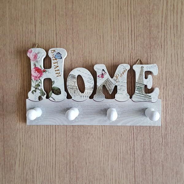Малка дървена декоративна закачалка HOME с 4 куки