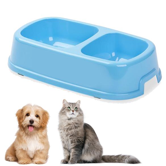 Пластмасова двойна купа за кучета и котки хранилка за домашни любимци