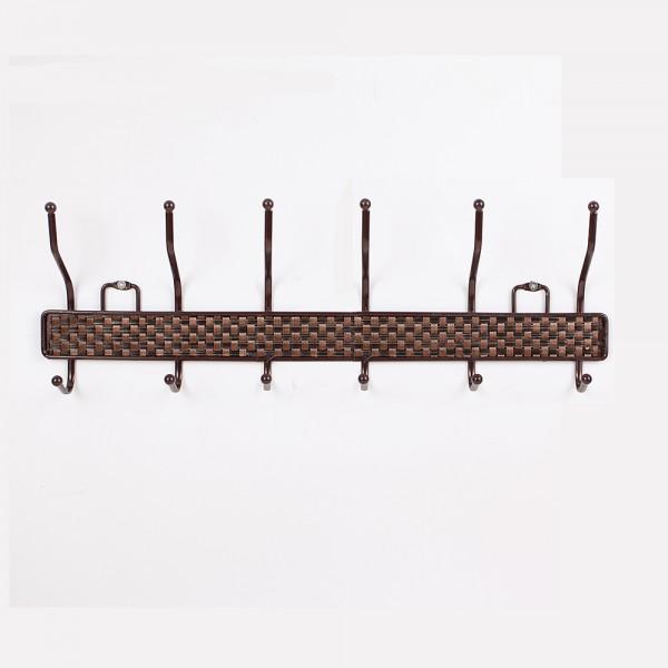 Метална стенна закачалка с 12 куки Ратанова плетеница 50см дължина