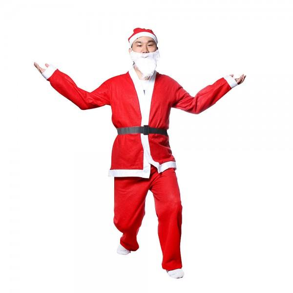 Костюм на Дядо Коледа за възрастни универсален размер 5 части комплект