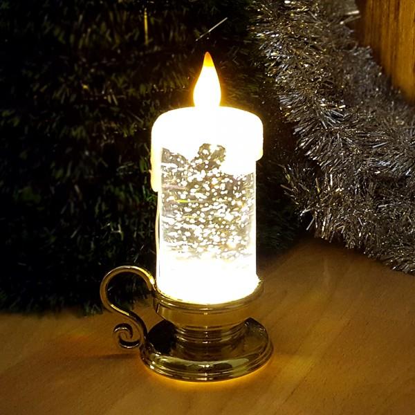 Коледна електронна свещ с дръжка светеща коледна украса 15см