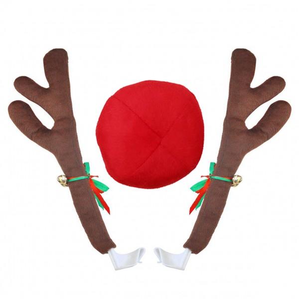 Коледни еленски рога за автомобил Коледна украса за кола Еленови рога и нос