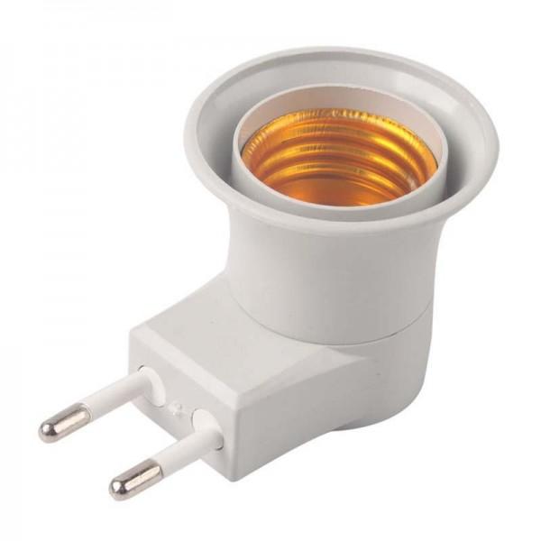 Фасунга за контакт с копче E27 адаптор за крушка с щепсел и превключвател