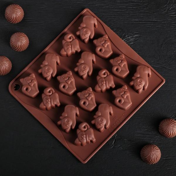 Силиконова форма за шоколадови бонбони и лед Котета