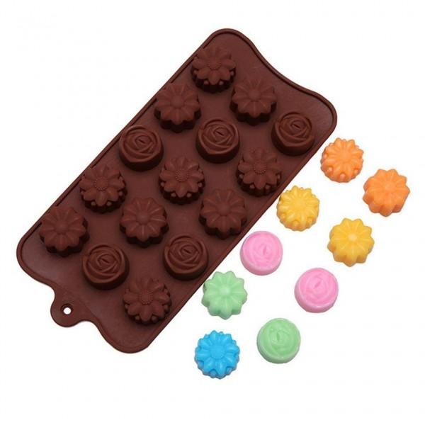 Силиконова форма за шоколадови бонбони цветенца и розички