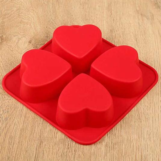 Силиконова форма за печене 4 сърца форми за мъфини сърце
