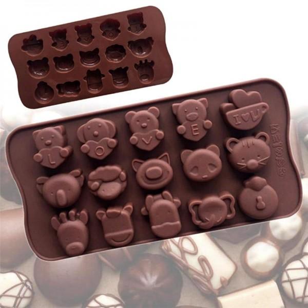 Силиконова форма за шоколадови бонбони Животни LOVE