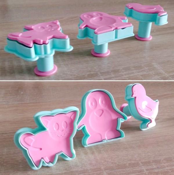 Форми за сладки с бутало и щампа резци за тесто Пингвин Коте и Пиле 3бр/комплект