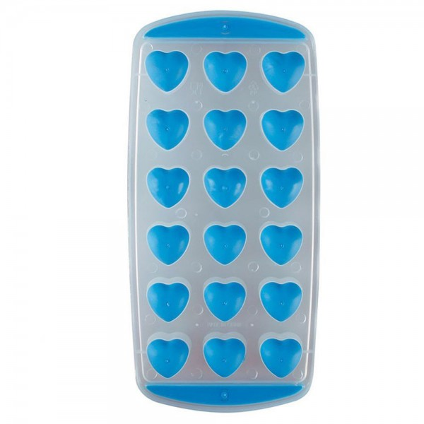 Форма за лед със силиконово дъно 18 сърца формички за лед сърце