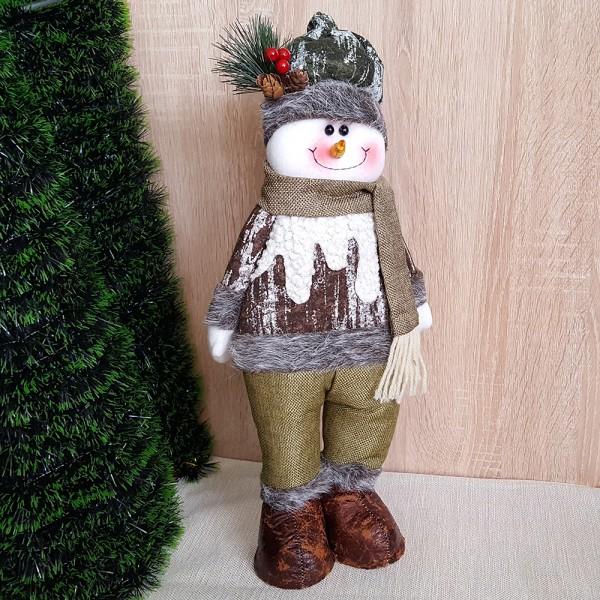 Текстилна фигура за коледна украса Снежко 44cm височина