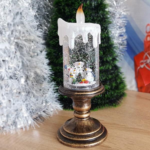 Голяма електронна свещ светещо коледно преспапие семейство снежни човеци