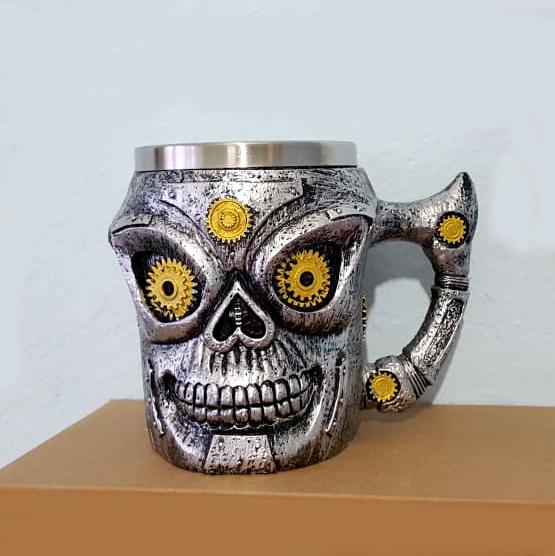 Метална 3D чаша череп робот сувенирна халба подарък за мъж 400ml