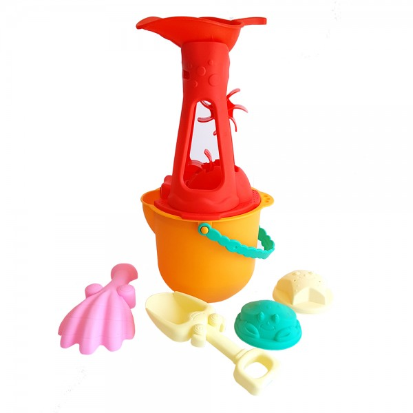 Комплект мелничка за пясък с кофичка лопатки и формички за пясък 34см