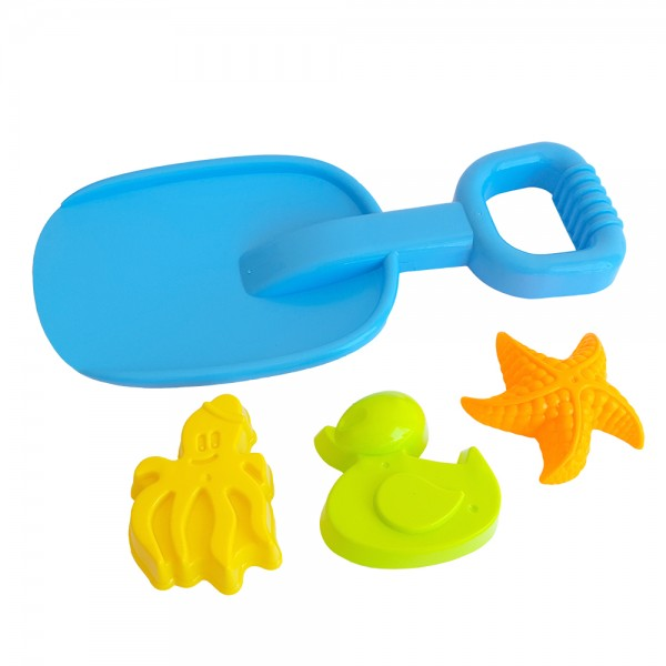 Плажен комплект лопатка за пясък с 3 броя формички пате звезда октопод