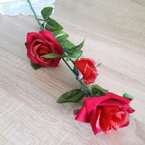 Изкуствена червена роза за декорация роза разцъфнала тройна 73см