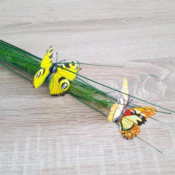 Изкуствен букет висока тревичка с пеперуди за декорация и аранжиране 76см