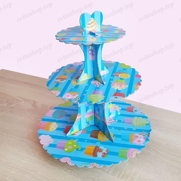 Триетажна поставка за мъфини и сладки от картон