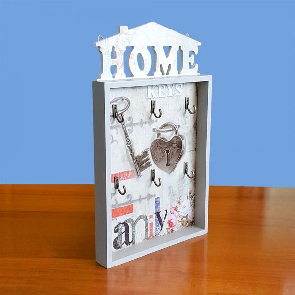 Декоративна дървена къщичка за ключове HOME кутия органайзер